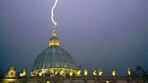 Lightning striking the vatican twice
